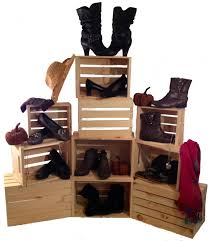 Shoe Display Crates Wood Retail Stacking Store
