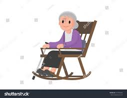 Old Woman Sitting On Rocking Chair Stock Vector (Royalty ...
