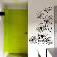 Wall Mural Decals Flowers by Wall Vinyl Decal Sticker Skull Poppies Dangerous Flowers Art