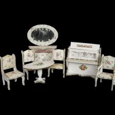 Antique Doll House Miniature Furniture Piano Table Chairs
