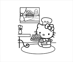 Hello Kitty Farmer Coloring Page PDF Free Download