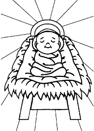 Nativity Scene Coloring Page Printable Baby Jesus In A Manger