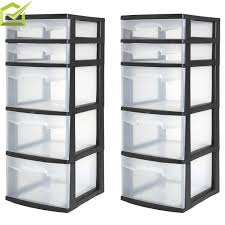 Sterilite 2 Shelf Storage Cabinet 2 Pack by Sterilite 5 Drawer Tower Black Available In Case Of 2 Or Single