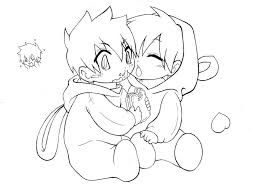 Cute Anime Couple Coloring Pages Chibi