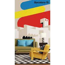 livingwalls fototapete artist barcelona 75 beige blau gelb rot schwarz weiß