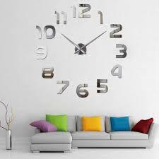 wand uhr wohnzimmer wanduhr wandtattoo aufkleber deko xl 3d design silbern