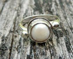 Pearl Engagement Ring Rustic Style Bezel Set Fresh Water