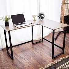 viewee lförmiger schreibtisch pc tisch bürotisch gaming computertisch ecktisch home office mit fester kork fußstützenstruktur für büro wohnzimmer