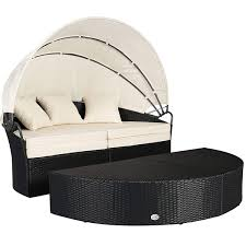 100 Retractable Patio Chairs Cloud Mountain 4 Piece Rattan Round Canopy Daybed Outdoor
