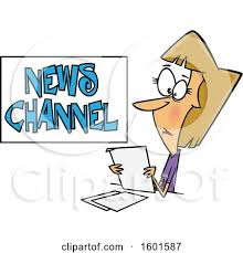 Clipart Of A Cartoon White Female News Reporter At Work