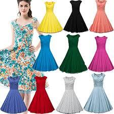 DRESSTELLS Women 1950s Retro Rockabilly Dress Vintage Audrey Swing