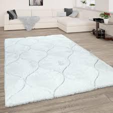 hochflor teppich wohnzimmer shaggy 3d effekt geometrisches muster modern weiss