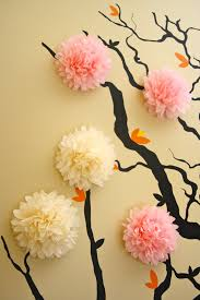 Decoration Black Branch Wall Decals Pink White Tissue Paper Art Work Painted Interior Design Decor Bedroom Decorating Ideas Cool