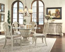 Mestler Side Chair By Ashley by Ashley Antique White Round Table Set