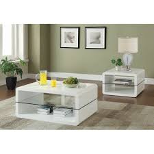 100 Living Room Table Modern Cube Design Accent Collection With Glass Shelf