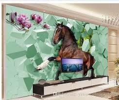 großhandel pferd 3d kreative wohnzimmer tv hintergrund wand 3d wandbilder tapete für wohnzimmer yiwuwallpaper1688 9 73 auf de dhgate