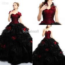 2015 red and black quinceanera dress sweetheart organza ball gown