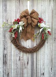 Rustic Christmas Wreath Red Berry Poinsettia Greenery