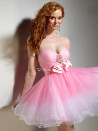 sequin bow tie empire sweetheart strapless pink tulle a line short