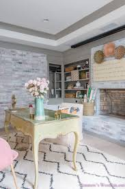 100 Brick Walls In Homes My Whitewashed Basement Home Office Reveal W Decorating
