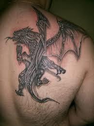 Best 3D Flying Dragon Tattoo Design On Shoulder