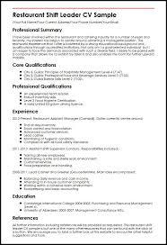 Confortable Sample Resume Of A Restaurant Supervisor About Shift Leader Cv