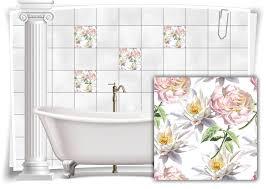fliesen aufkleber fliesen bild kachel see blumen rosa bad wc deko küche
