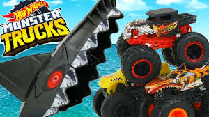 100 Hot Wheels Monster Truck Toys S Shark Attack Arena Playset Bone Shaker Vs Tigershark Launchers