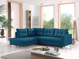 bestmobilier nordic ecksofa schlaffunktion l form 5 sitzer skandinavische design ente blau links
