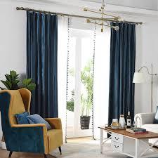 luxus blau velours vorhänge für wohnzimmer elegante weiche samt solide vorhänge für schlafzimmer weiß chiffon sheer voile rideaux