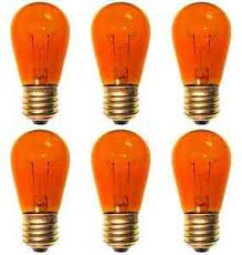 6 bulbs 11s14 orange 120 volt s14 e26 medium base 11 watt 11s14to