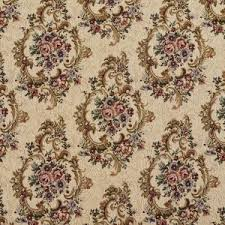 F643 Green Burgundy And Beige Floral Tapestry Upholstery Fabric By The Yard