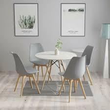 4 stühle mit runden tisch modernes holz esstisch stühle set tulip design grau