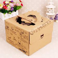 Pretty Bear Kraft Paper Cake Box With White Inner Base Eco Friendly