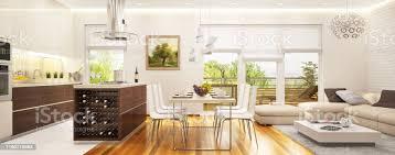 große moderne küche kombiniert mit einem wohnzimmer mit großen fenstern stockfoto und mehr bilder arbeitsplatte
