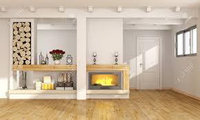 weiß wohnzimmer mit kamin holzbalken und geschlossene tür auf den hintergrund 3d rendering