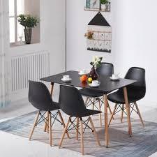 hj wedoo esstisch mit 4 stühlen schwarz esszimmer essgruppe 110x70x73cm für esszimmer essgruppe esszimmerstuhl