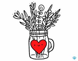dessin de pot de fleurs sauvages et un cœur colorie par membre non