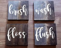 4 Piece Bathroom Sign Set Brush Wash Floss Flush Signs Kids