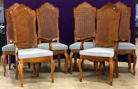 Country Cane Back Dining Chair With Brown Finished And White Upholstery On