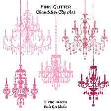 Pink Glitter Chandelier Clip Art Sparkling Chandeliers Clipart Instant Download Commercial Use