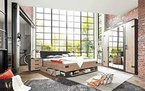 lifestyle4living schlafzimmer komplett set in silber dekor und graphit 4 teilig komplettset mit drehtürenschrank bett und nachtschränken im