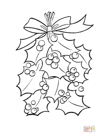 Christmas Tree Ornaments Printable Coloring Pages by Holly Leaves With Bright Red Berries Coloring Page Free