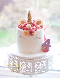 Tall unicorn birthday cake for little girl Gold peach and pink I