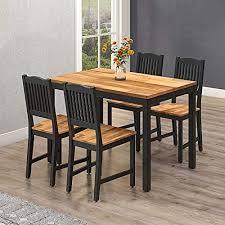 interbuild real wood akazie swoppmokk esszimmer set aus echtholz tisch mit 4 stühlen set 0 voc geölt und schwarz lackiert kueche esszimmer