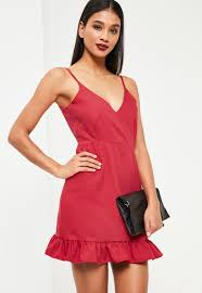 missguided red crepe plunge frill hem bodycon dress galina