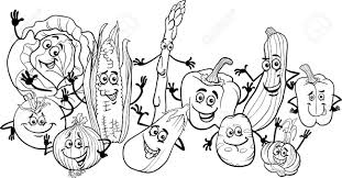 Fancy Fruit And Vegetables Coloring Pages Harvest Fruits With Vegetable