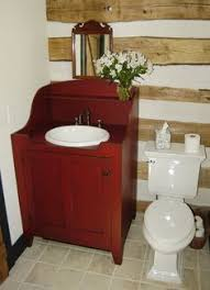 Photos Of Primitive Bathrooms by Good Drop In Sink Idea For Primitive Or Colonial Home Wood