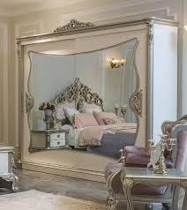 casa padrino luxus barock schlafzimmerschrank weiß silber 260 x 72 x h 244 cm edler massivholz kleiderschrank mit 2 verspiegelten schiebetüren
