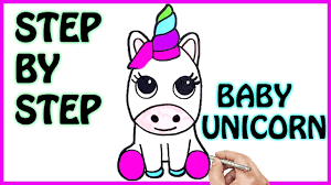 HOW TO DRAW CUTE BABY UNICORN EASY STEP BY